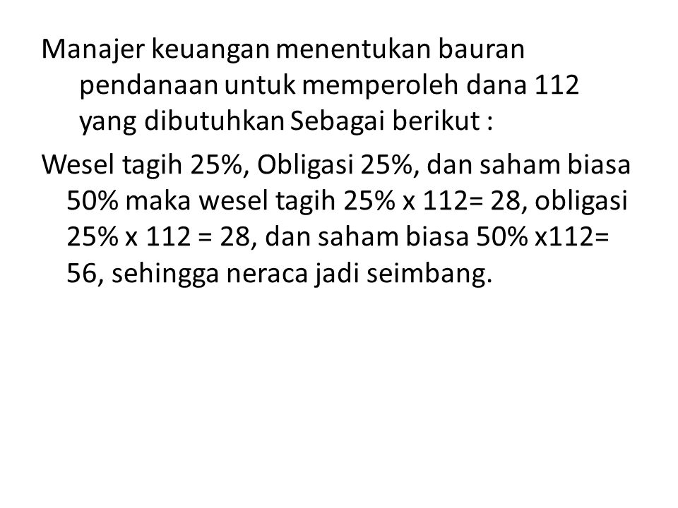 Manajer keuangan menentukan bauran pendanaan untuk memperoleh dana 112 yang dibutuhkan Sebagai berikut :