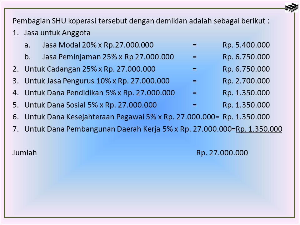 Pembagian SHU koperasi tersebut dengan demikian adalah sebagai berikut :