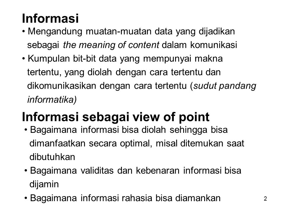 Informasi sebagai view of point