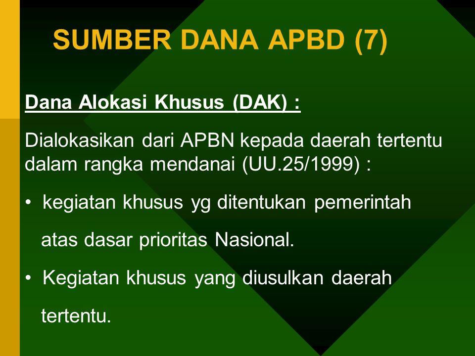 SUMBER DANA APBD (7) Dana Alokasi Khusus (DAK) :
