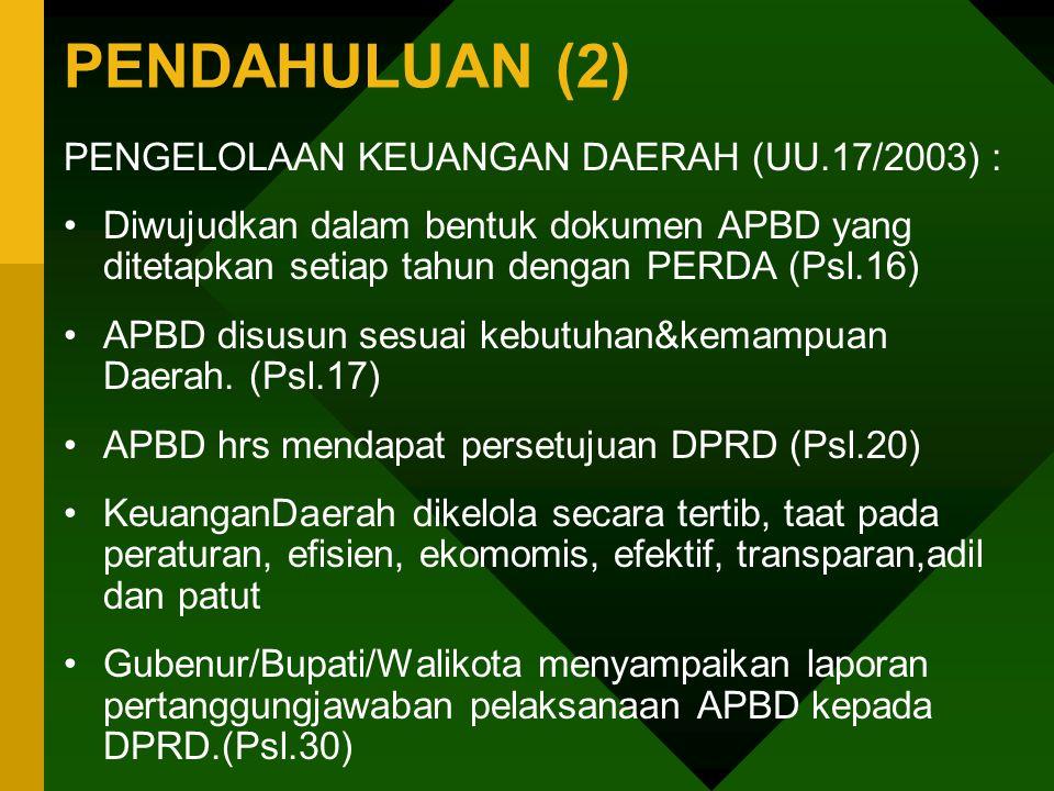 PENDAHULUAN (2) PENGELOLAAN KEUANGAN DAERAH (UU.17/2003) :