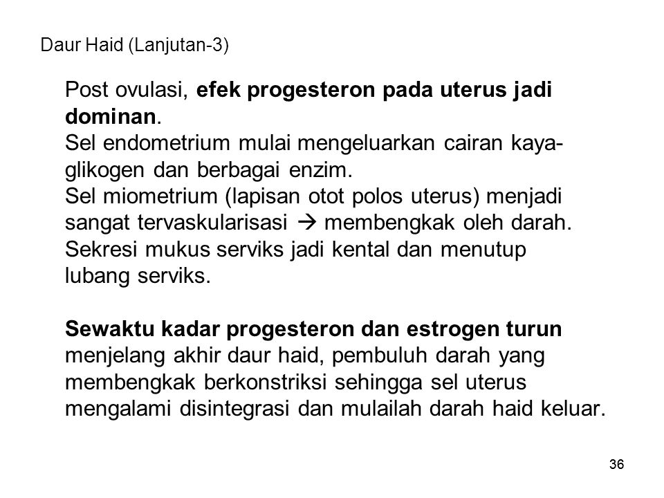 Post ovulasi, efek progesteron pada uterus jadi dominan.