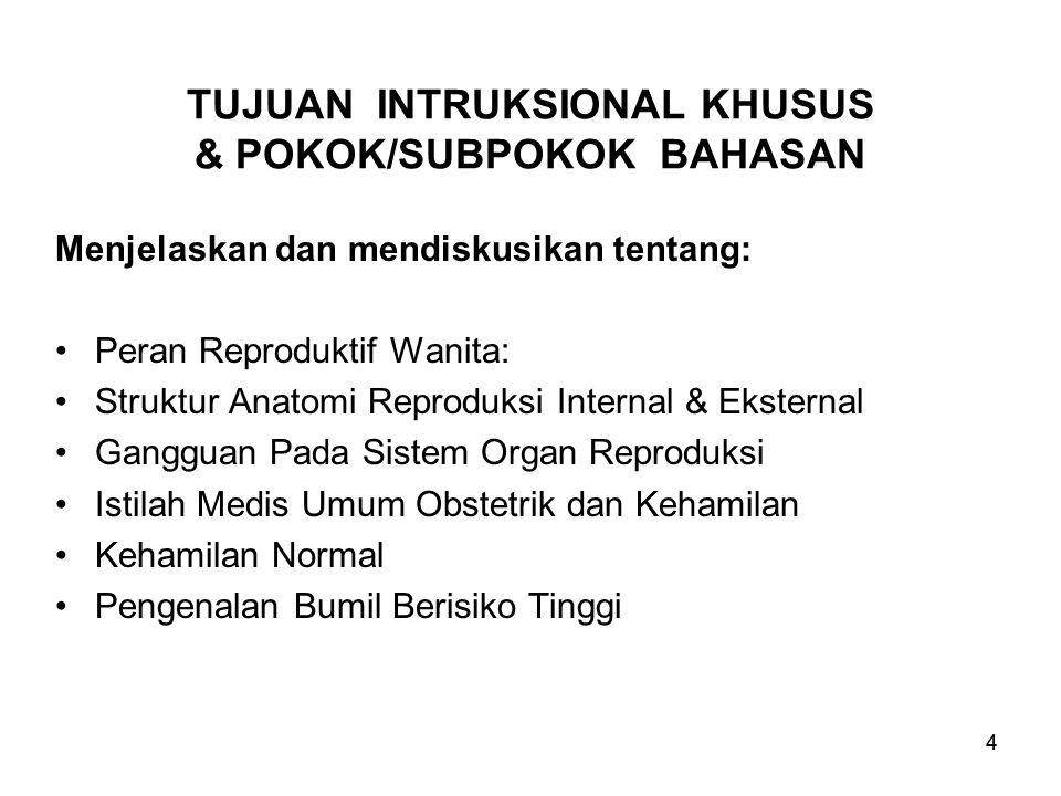 TUJUAN INTRUKSIONAL KHUSUS & POKOK/SUBPOKOK BAHASAN
