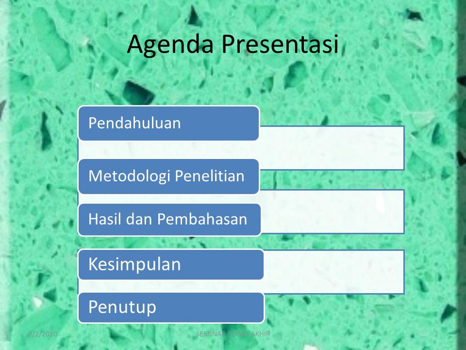 Agenda Presentasi Kesimpulan Penutup 9/2/2010 SEMINAR TUGAS AKHIR