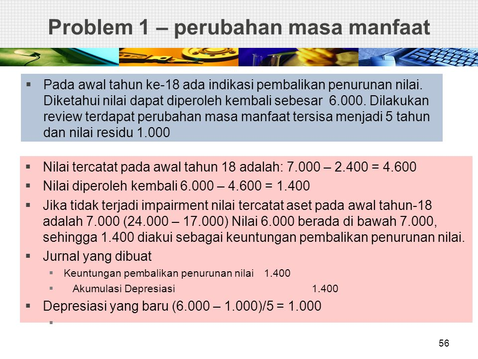 Problem 1 – perubahan masa manfaat