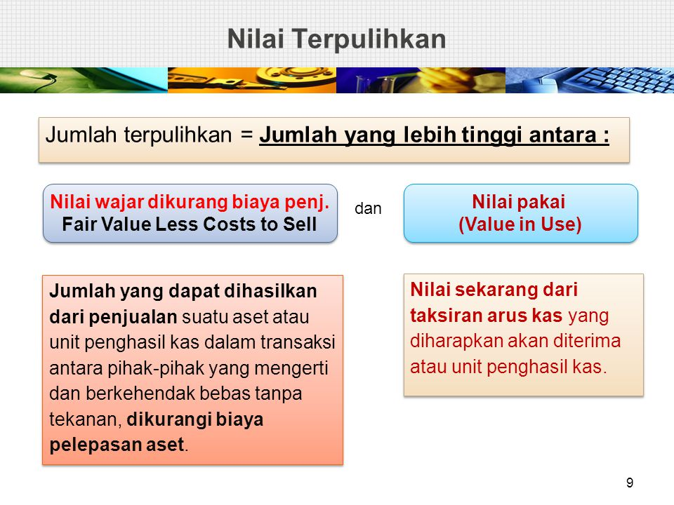 Nilai wajar dikurang biaya penj. Fair Value Less Costs to Sell