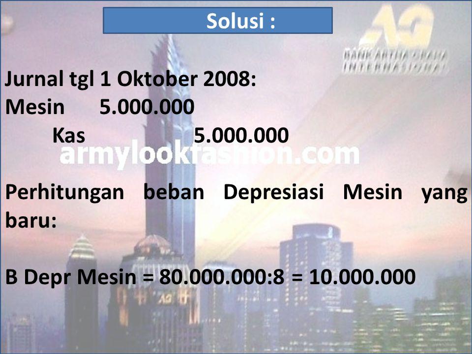 Jurnal tgl 1 Oktober 2008: Mesin 5.000.000. Kas 5.000.000. Perhitungan beban Depresiasi Mesin yang baru: