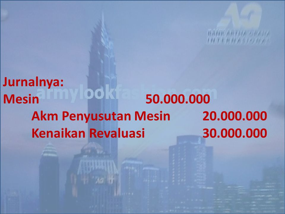 Jurnalnya: Mesin 50.000.000 Akm Penyusutan Mesin 20.000.000 Kenaikan Revaluasi 30.000.000