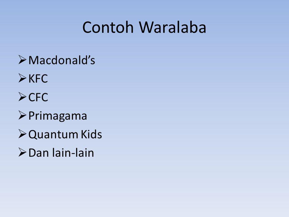 Contoh Waralaba Macdonald's KFC CFC Primagama Quantum Kids