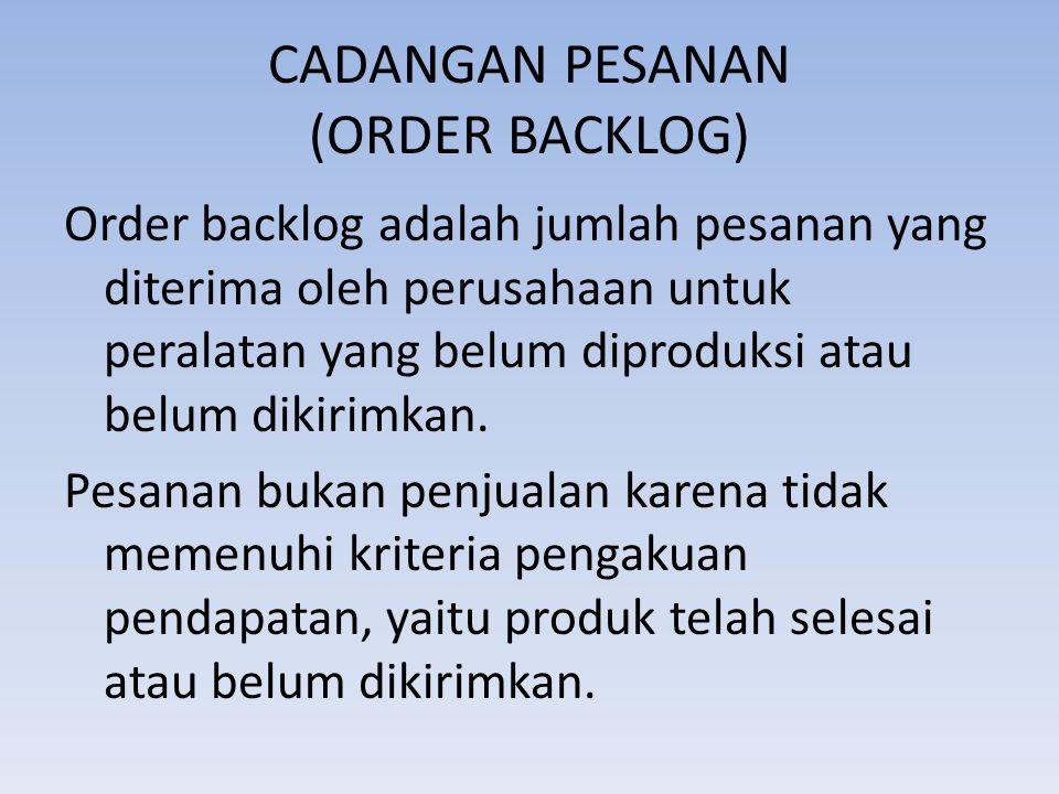 CADANGAN PESANAN (ORDER BACKLOG)