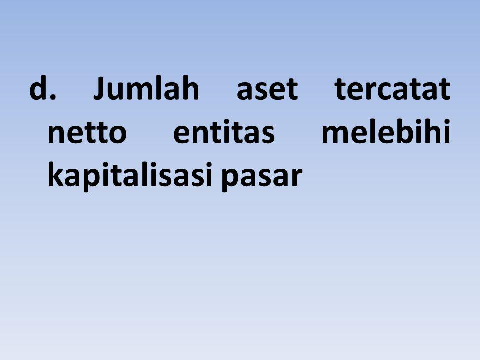 d. Jumlah aset tercatat netto entitas melebihi kapitalisasi pasar
