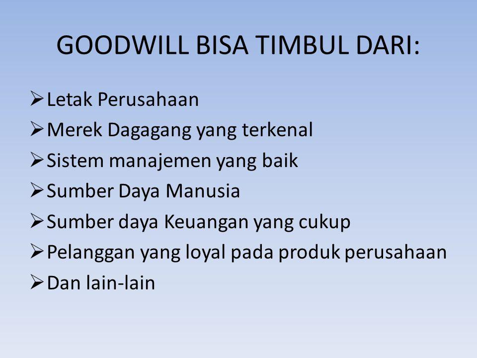 GOODWILL BISA TIMBUL DARI: