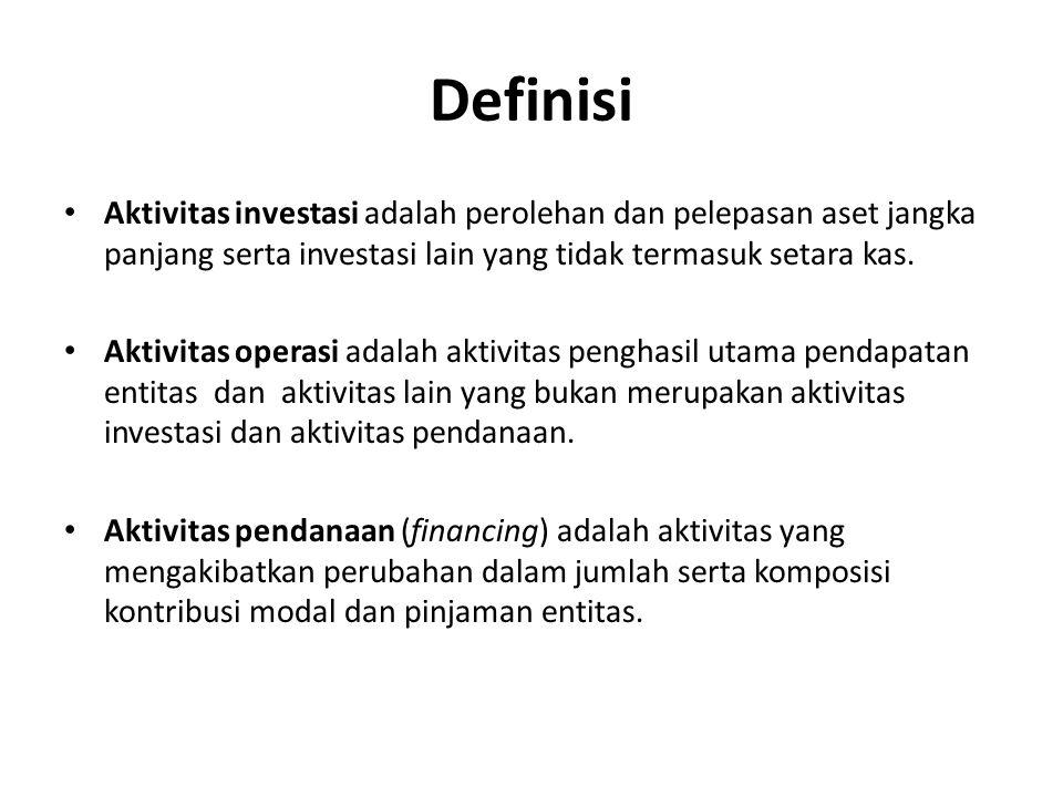 Definisi Aktivitas investasi adalah perolehan dan pelepasan aset jangka panjang serta investasi lain yang tidak termasuk setara kas.