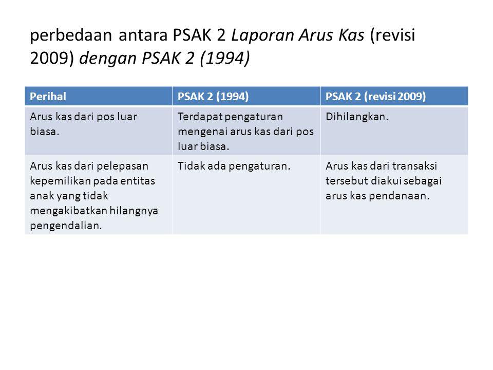 perbedaan antara PSAK 2 Laporan Arus Kas (revisi 2009) dengan PSAK 2 (1994)
