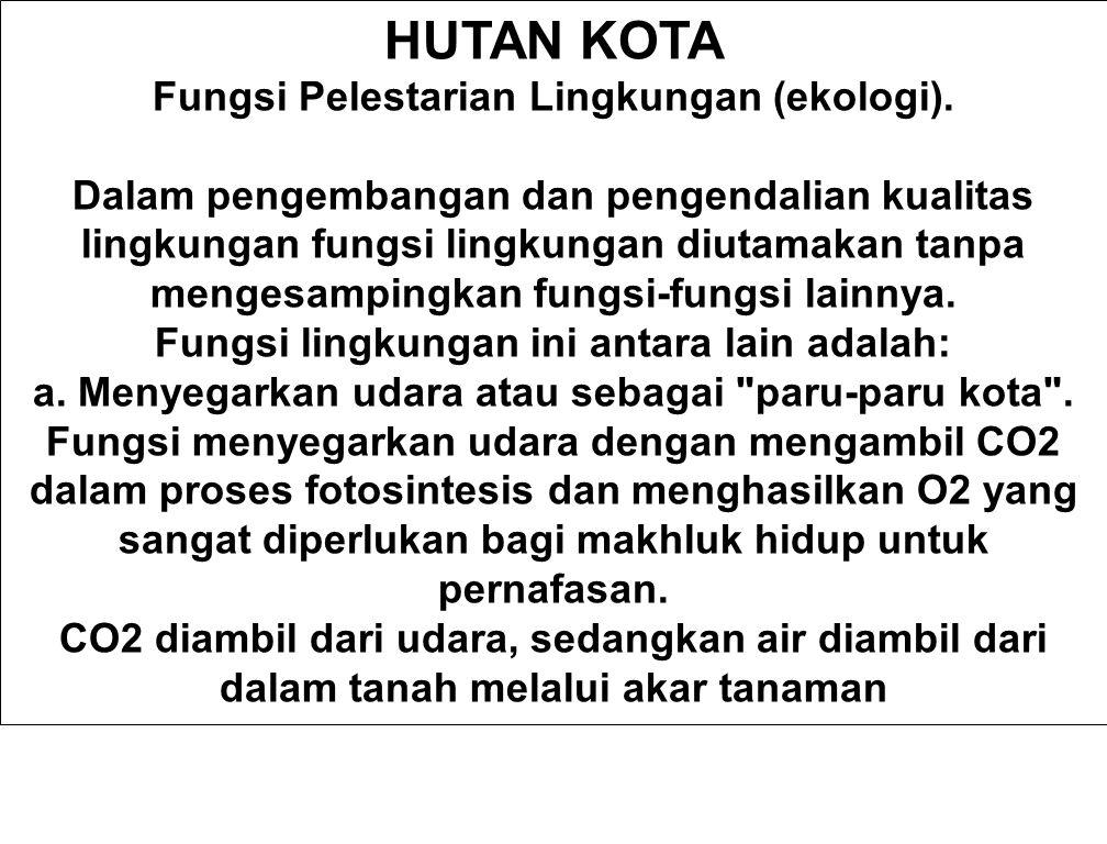 HUTAN KOTA Fungsi Pelestarian Lingkungan (ekologi).