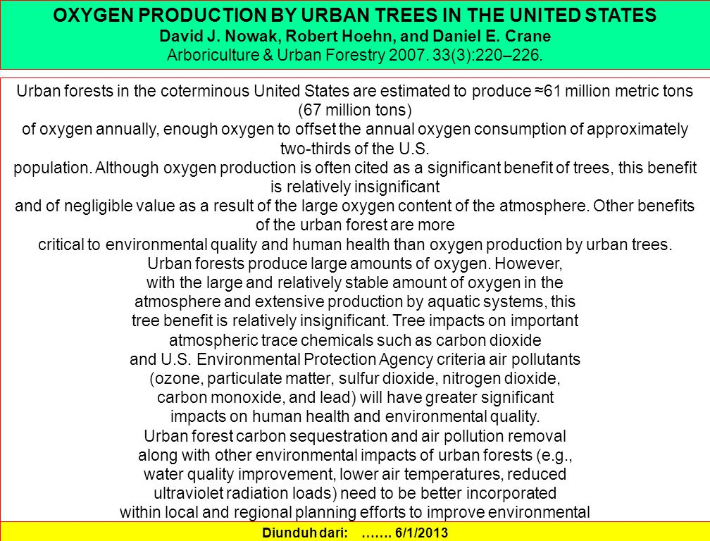 OXYGEN PRODUCTION BY URBAN TREES IN THE UNITED STATES