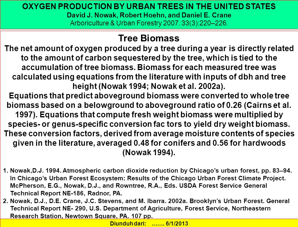 Tree Biomass OXYGEN PRODUCTION BY URBAN TREES IN THE UNITED STATES