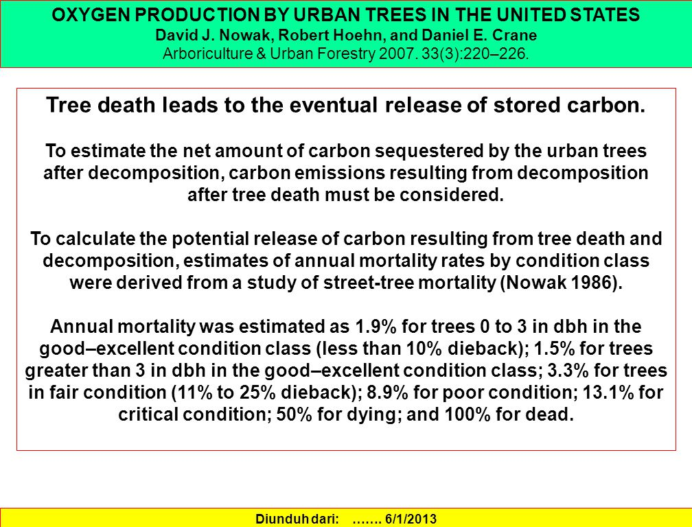 Tree death leads to the eventual release of stored carbon.