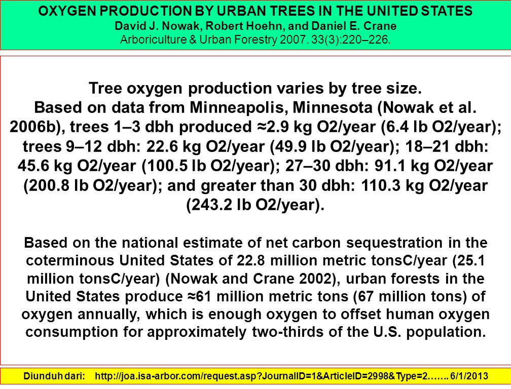 Tree oxygen production varies by tree size.