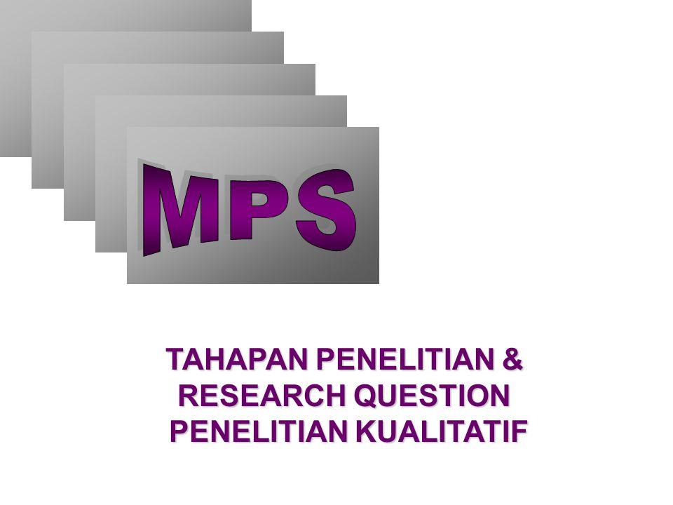 TAHAPAN PENELITIAN & RESEARCH QUESTION PENELITIAN KUALITATIF
