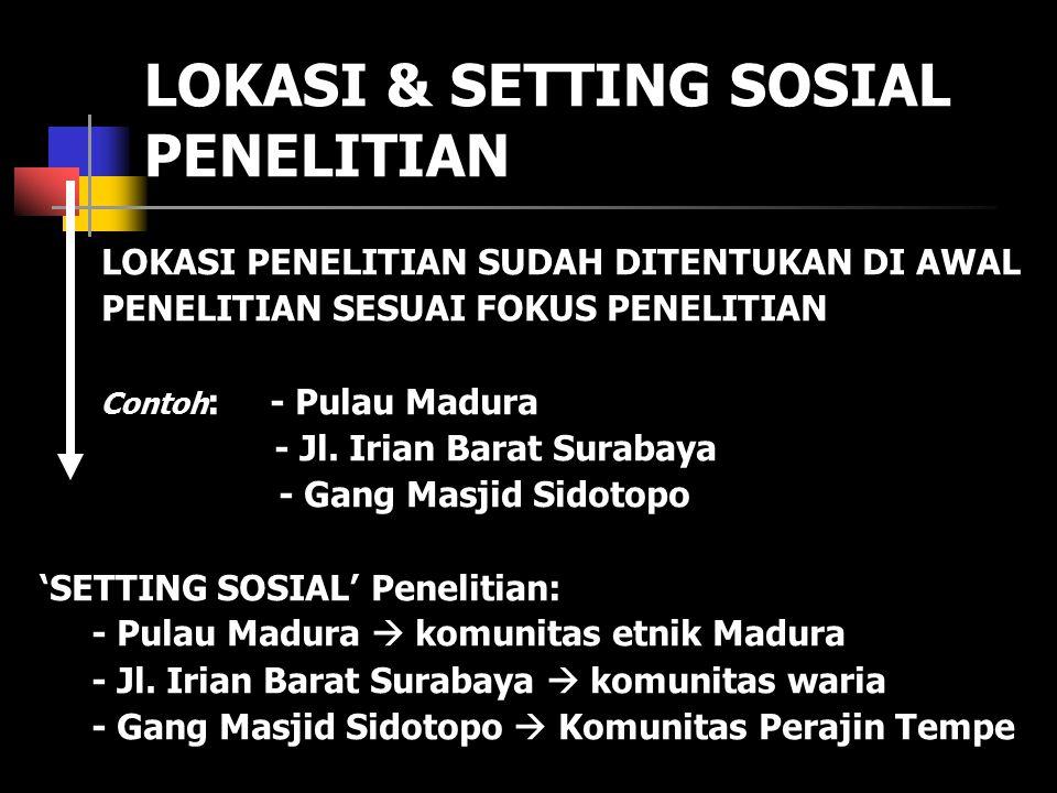LOKASI & SETTING SOSIAL PENELITIAN