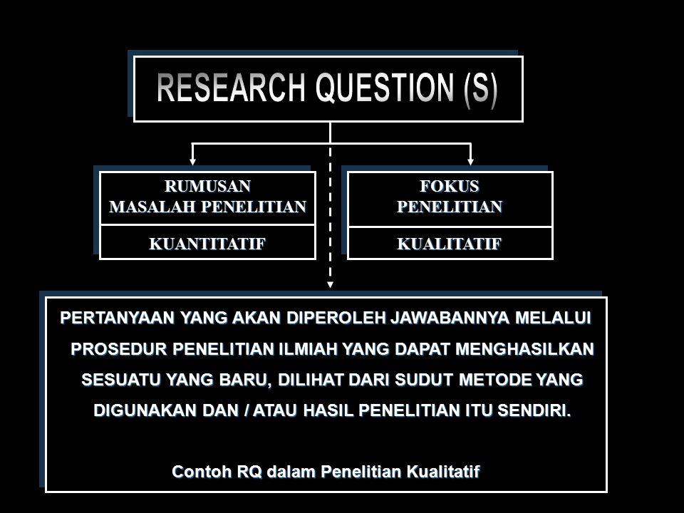 Contoh RQ dalam Penelitian Kualitatif