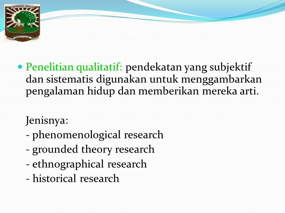 Penelitian qualitatif: pendekatan yang subjektif dan sistematis digunakan untuk menggambarkan pengalaman hidup dan memberikan mereka arti.