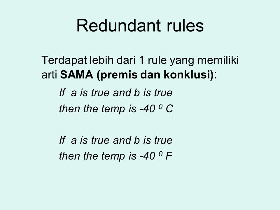 Redundant rules If a is true and b is true then the temp is -40 0 C
