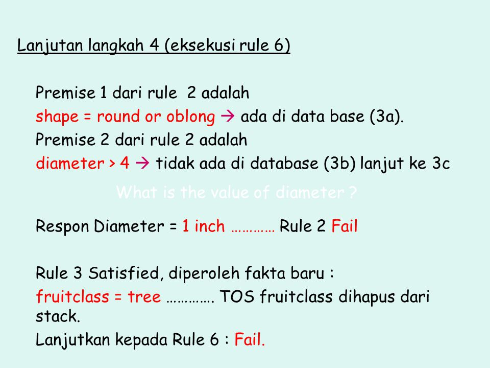 Lanjutan langkah 4 (eksekusi rule 6)