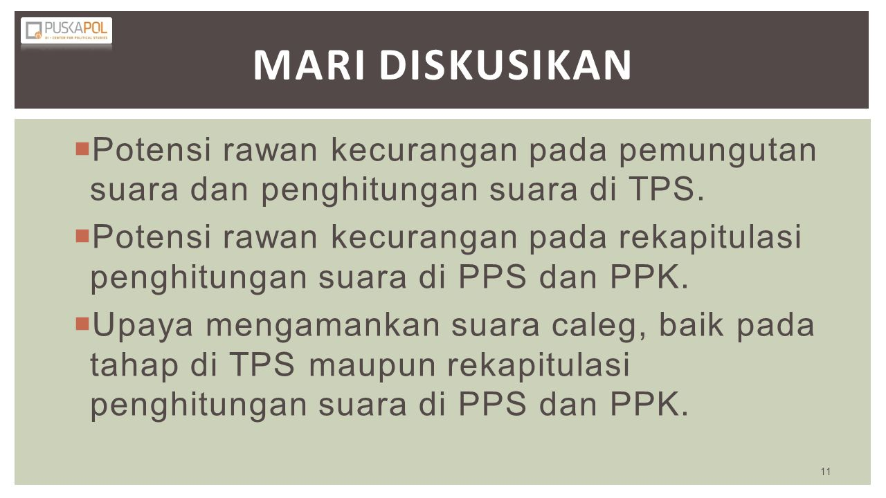 MARI DISKUSIKan Potensi rawan kecurangan pada pemungutan suara dan penghitungan suara di TPS.