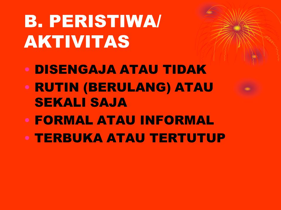 B. PERISTIWA/ AKTIVITAS