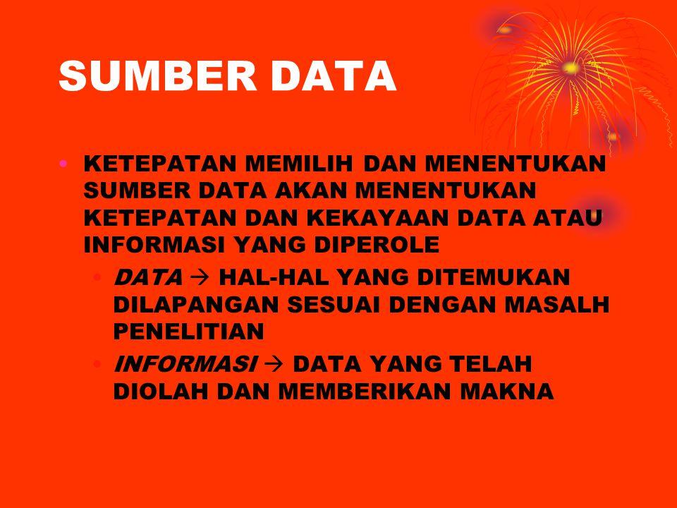SUMBER DATA KETEPATAN MEMILIH DAN MENENTUKAN SUMBER DATA AKAN MENENTUKAN KETEPATAN DAN KEKAYAAN DATA ATAU INFORMASI YANG DIPEROLE.