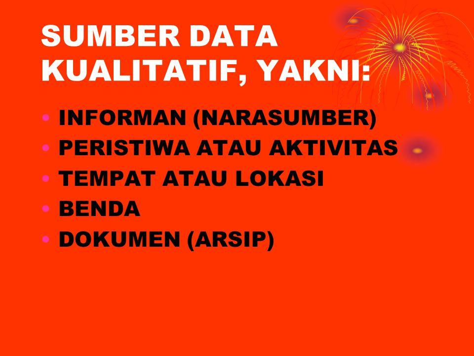SUMBER DATA KUALITATIF, YAKNI: