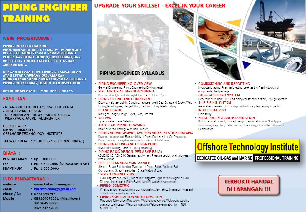 PIPING ENGINEER TRAINING UPGRADE YOUR SKILLSET - EXCEL IN YOUR CAREER