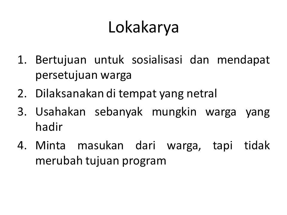 Lokakarya Bertujuan untuk sosialisasi dan mendapat persetujuan warga