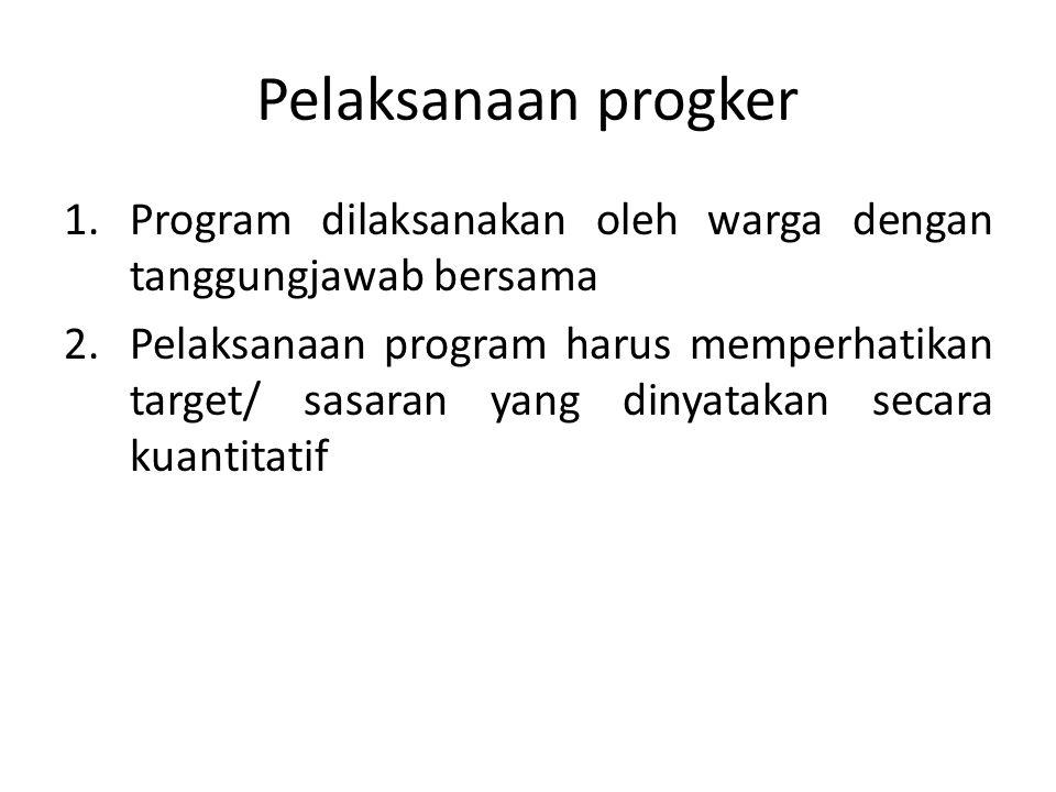 Pelaksanaan progker Program dilaksanakan oleh warga dengan tanggungjawab bersama.