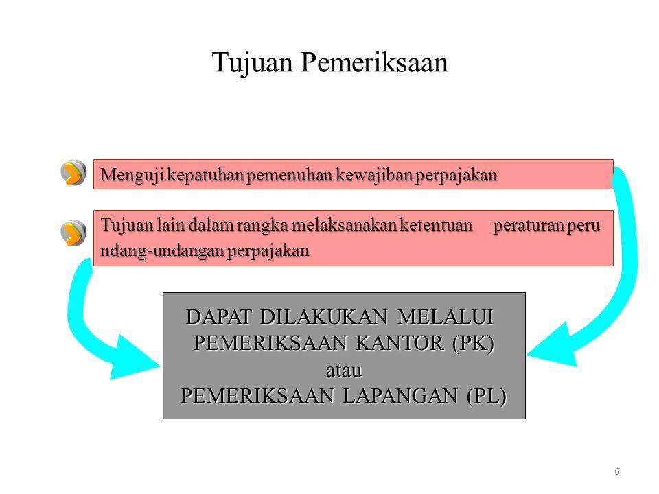Tujuan Pemeriksaan DAPAT DILAKUKAN MELALUI PEMERIKSAAN KANTOR (PK)
