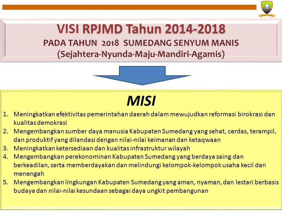VISI RPJMD Tahun 2014-2018 PADA TAHUN 2018 SUMEDANG SENYUM MANIS (Sejahtera-Nyunda-Maju-Mandiri-Agamis)