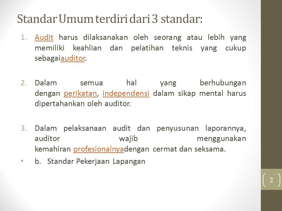 Standar Umum terdiri dari 3 standar: