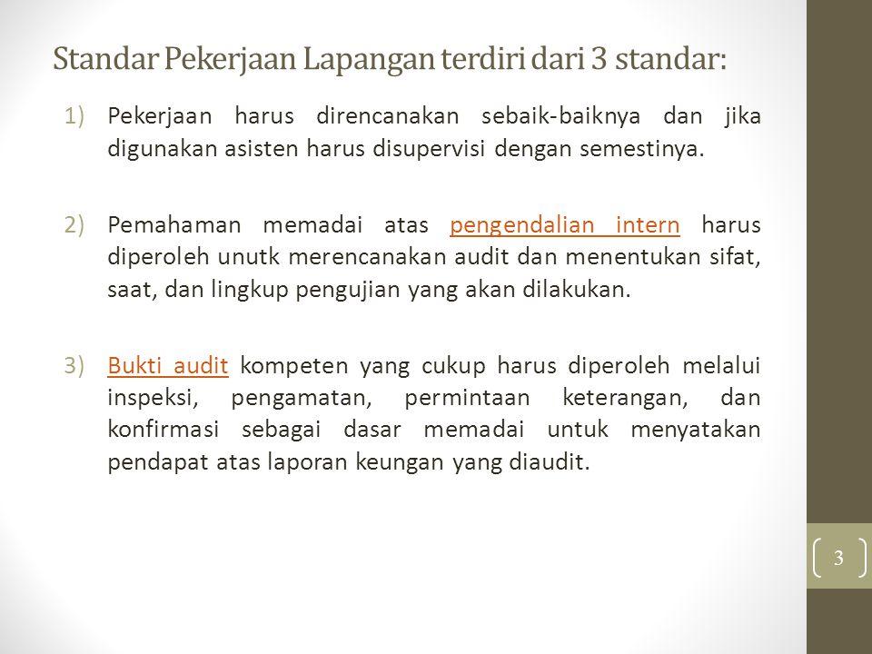 Standar Pekerjaan Lapangan terdiri dari 3 standar: