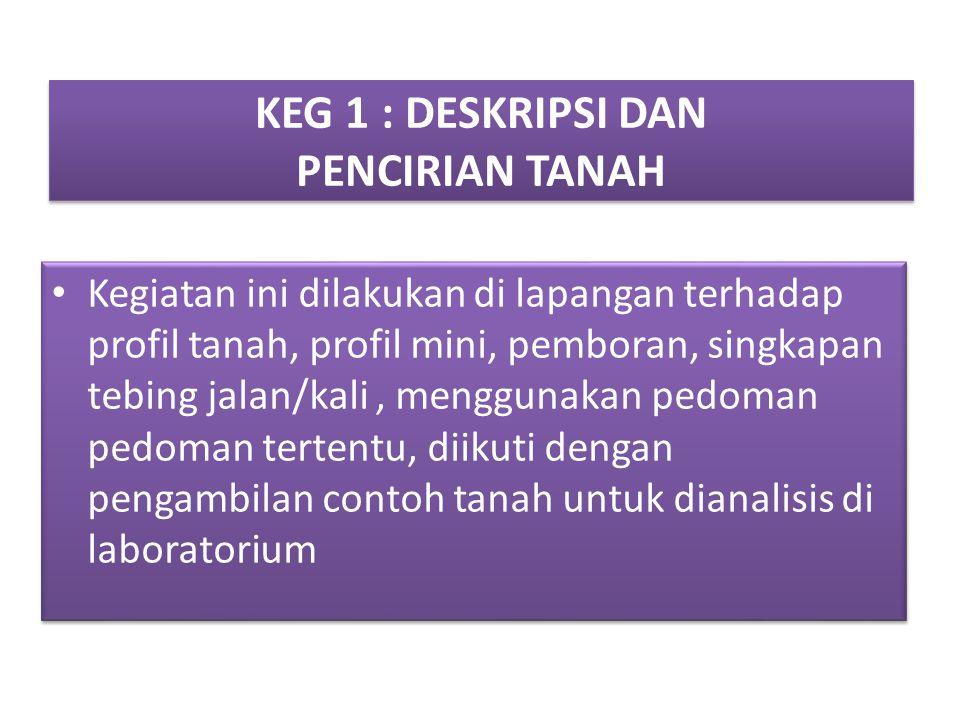 KEG 1 : DESKRIPSI DAN PENCIRIAN TANAH