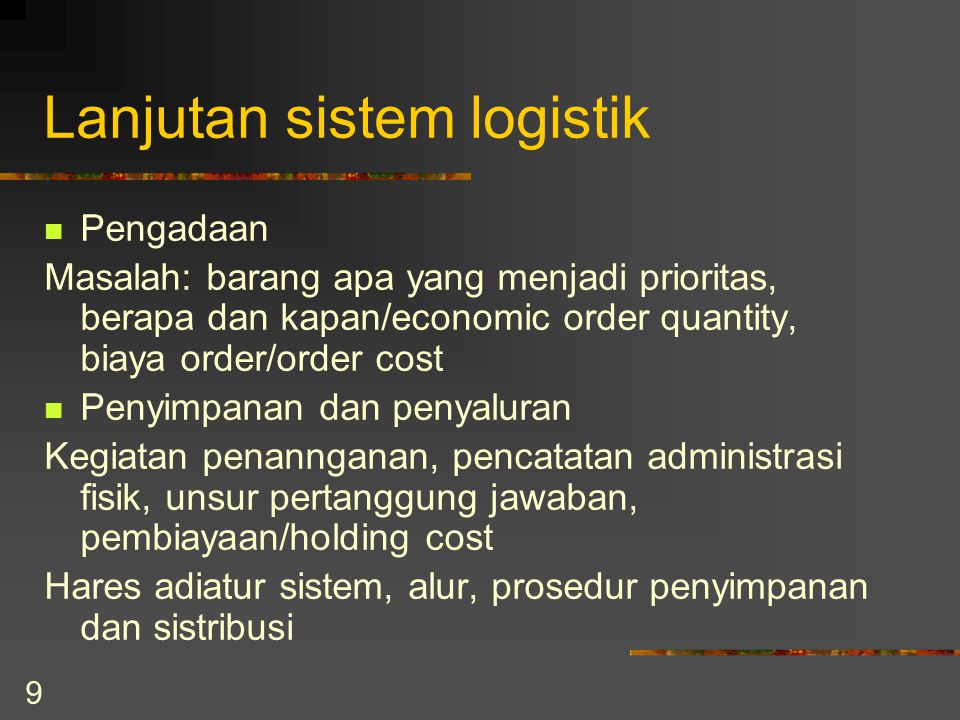 Lanjutan sistem logistik