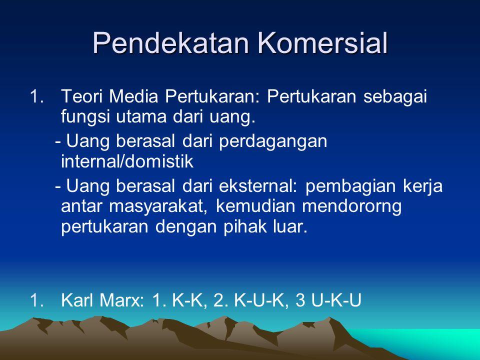 Pendekatan Komersial Teori Media Pertukaran: Pertukaran sebagai fungsi utama dari uang. - Uang berasal dari perdagangan internal/domistik.