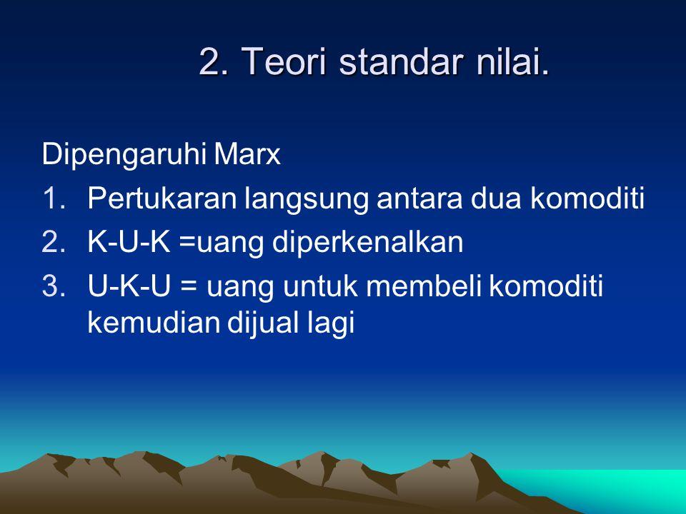 2. Teori standar nilai. Dipengaruhi Marx