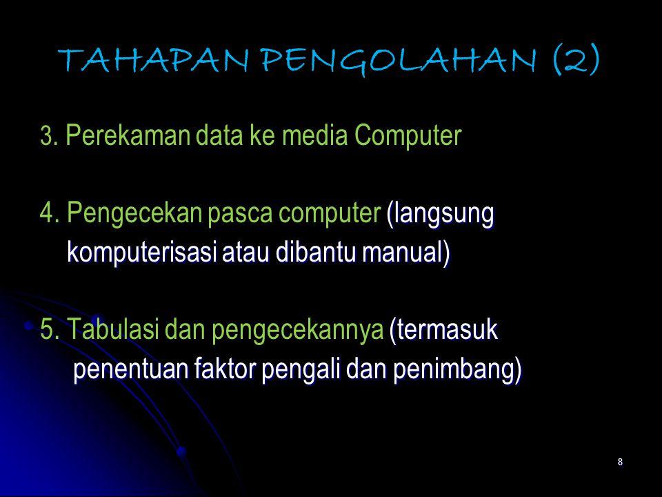TAHAPAN PENGOLAHAN (2) 4. Pengecekan pasca computer (langsung