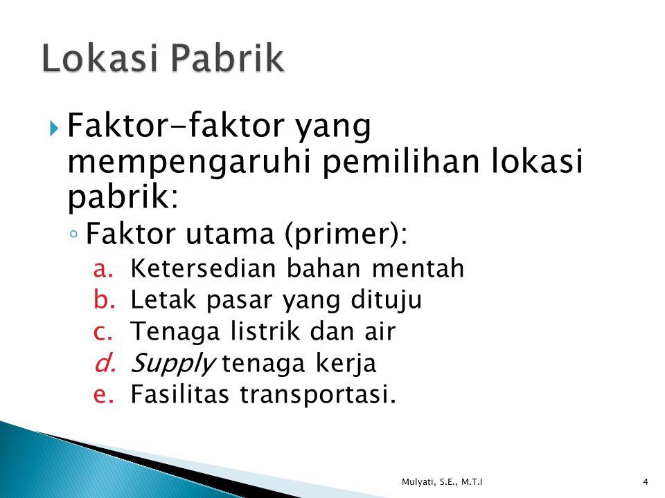 Lokasi Pabrik Faktor-faktor yang mempengaruhi pemilihan lokasi pabrik: