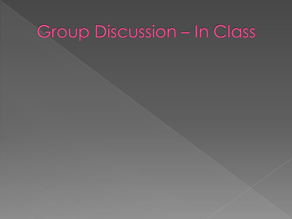 Group Discussion – In Class
