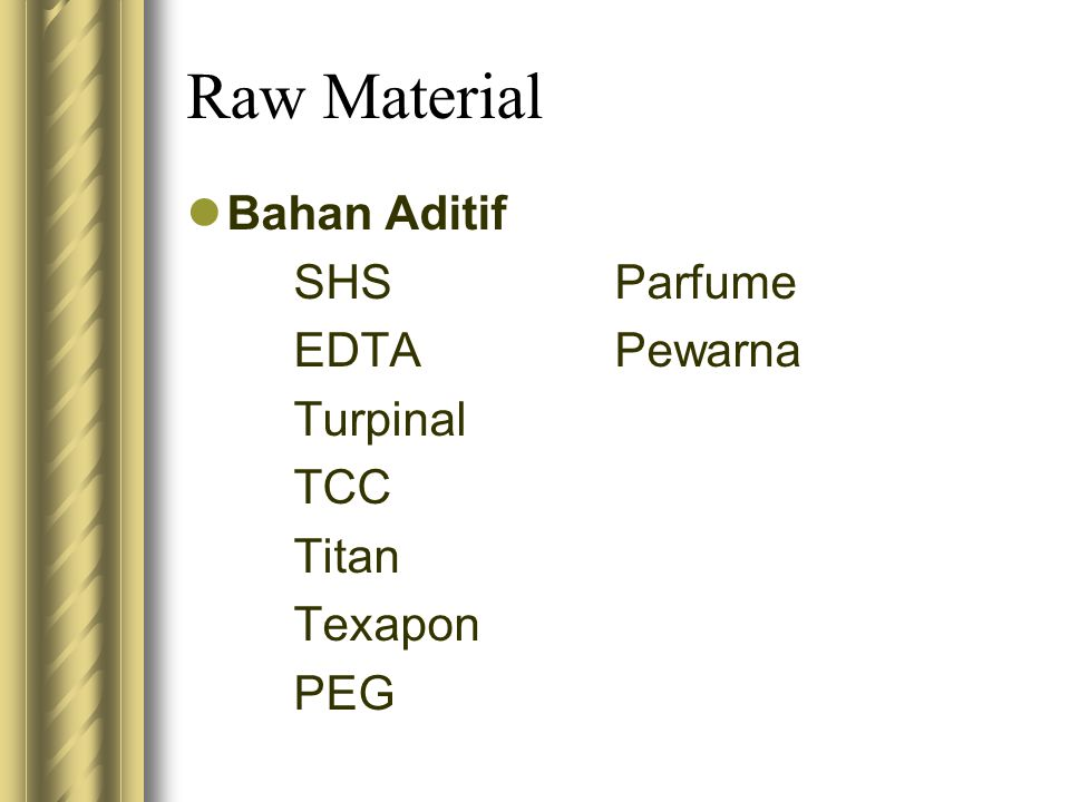 Raw Material Bahan Aditif SHS Parfume EDTA Pewarna Turpinal TCC Titan