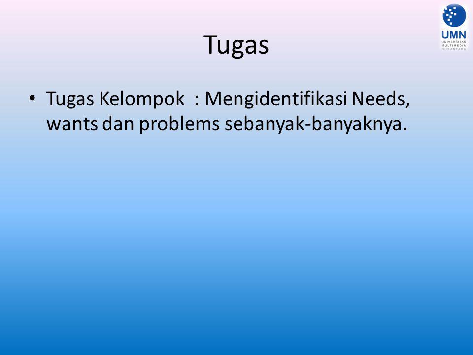 Tugas Tugas Kelompok : Mengidentifikasi Needs, wants dan problems sebanyak-banyaknya.