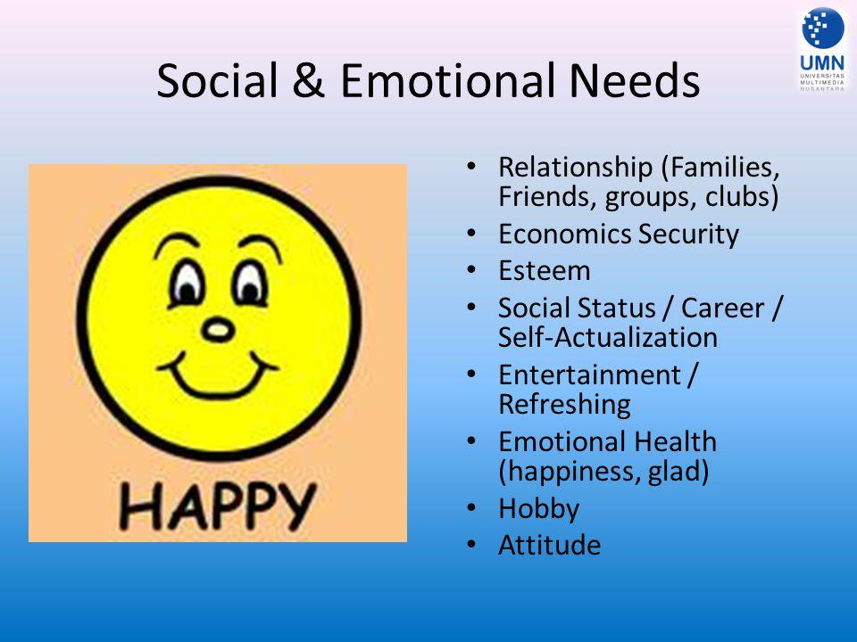 Social & Emotional Needs